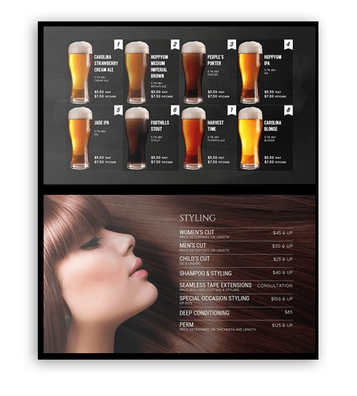 digital menu board samples